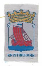 Kristinehamn Värmland Province Sweden Old Woven Travel Souvenir Patch Ship
