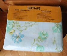 Vintage Heritage No Iron Blue Floral Queen Sheet Pillowcase Set NOS 4 PCS