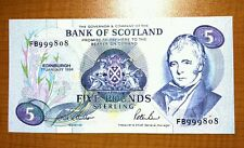 BANK OF SCOTLAND £5 FIVE POUND BANKNOTE 1994 SERIAL No.FB999808 GEM UNCIRCULATED