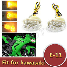 LED Clear Flush Mount Turn Signal Light For Kawasaki NINJA ZX6R/250/300/ZX10R