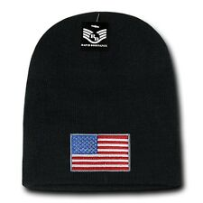 Black USA Flag Patch US American United States Patriotic Knit Short Beanie Hat