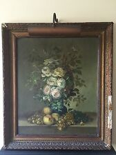 Antique Old 19th Century Still Life Roses and Fruits Oil Painting Restoration
