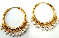 ETHNIC GOLDEN TONE PEARL HOOP BALI EARRINGS INDIAN BOLLYWOOD TRADITIONAL JEWELRY