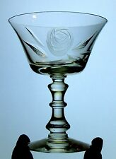 FOSTORIA etched wheel cut ROSE 827 champagne glass CRYSTAL stem 6036