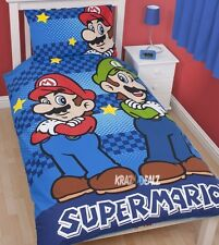 Nintendo Super Mario Bros Brothers Single Panel Duvet Cover Bed Set Luigi Gift