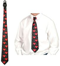 XOXO Wedding Suit Neck Tie Love Hearts Black and Red Engagement Fun Novelty Gift