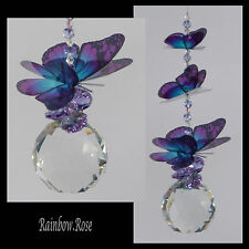 Suncatcher #501 BUTTERFLIES 40mm CRYSTAL BALL Purple Lilac & Blue or other color