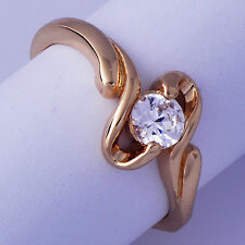 Nice Yellow Gold Filled Clear Cubic Zirconia Womens Ring Size 6 Free Shipping