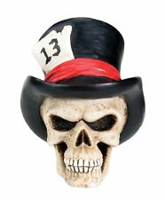 "Top Hat Skull Figurine Lucky Number 13, 2.5"" Tall, Resin, Superb Detail!"