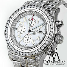 Men's Diamond Breitling Super Avenger Watch White Index Dial Model A13370
