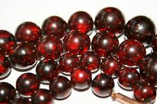 ANTIQUE CHERRY AMBER FATURAN BAKELITE NECKLACE - ON SILVER CHAIN GOLD CLASP