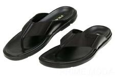 NEW PRADA  BLACK LEATHER NYLON LOGO THONG FLIP FLOP SANDALS SHOES 8/US 9