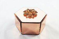 Jewellery Box Mirror Glass Rose Gold Diamante Trinket Gift Mothers Day Ladies