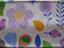 cotton fabric quilting sewing purple green orange blue flowers size 50cms x 40cm