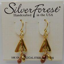 Silver Forest Shiny Gold Tone Arrow Head Shape & Dangling Bead Hook Earrings