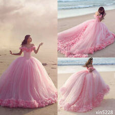Princess Wedding Dresses Ball Gown Cinderella Bridal Gowns Handmade Flower Tulle