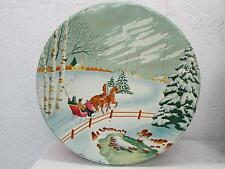 Vintage Christmas Candy Cookie Biscuit Tin Winter Scene Horse Drawn Sleigh