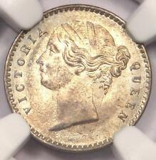 1841-C India Victoria 2 Annas Coin (2A) - Certified NGC MS64 (BU UNC) - Rare!