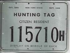 1965-66 New York State Hunting Citizen Resident Tag