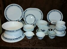 56 Piece Dinnerware Set Vtg Corelle Old Town Blue Onion with Serving Pieces EUC