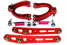EF CRX Honda Civic Front + Rear Adjustable Camber Kit + Lower Control Arm Red