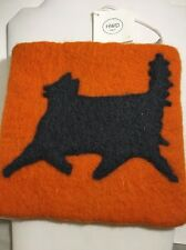 HWD Wool Felt Pouch Purse Makeup Bag Cat Orange Black NWT Nepal