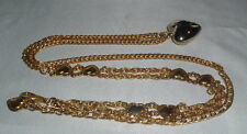 VINTAGE GOLD TONE LINK CHAIN PUFF HEART NECKLACE OR BELT