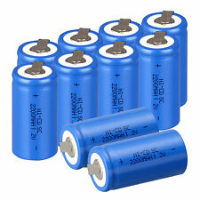 10pcs Sub C SC 1.2V 2200mAh Ni-Cd NiCd Rechargeable Batteries ,Blue