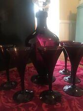VINTAGE CAMBRIDGE AMETHYST DECANTER & 6 SHERRY GLASSES Complete Set Excellent