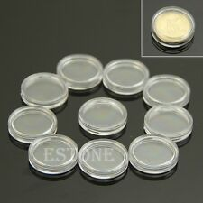 10 PCS 19mm Applied Clear Round Cases Coin Storage Capsules Holder Round Plastic