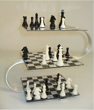 3D Chess Set Felt Pieces Multi-Level 3 Acrylic Boards Strategy Board Game Steel