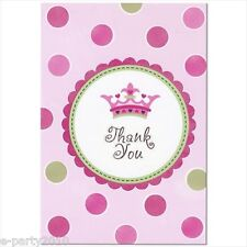 NEW LITTLE PRINCESS THANK YOU NOTES (8) ~ Baby Shower Party Supplies Stationary
