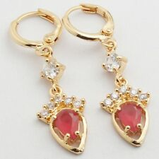 Nice Earrings For lady Gold Filled Main Red Cubic Zirconia Drop Earrings