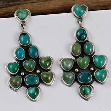 "GENEVA APACHITO Navajo ""Woodland HEART"" Turquoise Earrings Sterling Silver"