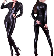 4 Way Zip Wetlook Sexy Shiny Black Stretch PVC/Spandex Catsuit Size 6/8 Free P&P