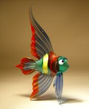 Blown Glass Art Figurine Blue, Red and Yellow  ANGELFISH Fish