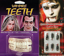 Dracula Vampire Teeth + 6 Fake Blood Capsules Halloween Fancy Dress Costume Kit