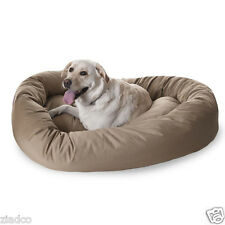 "Huge 52"" Round Dog Pet Large Breed XL Bagel Bed for 70 - 110 Lb Dogs KHAKI NEW"