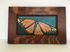 Motawi Butterfly Art Tile in a Family Woodworks Oak Park Arts & Crafts Frame