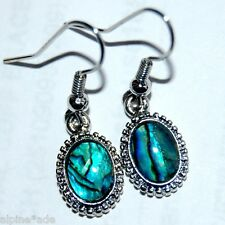 LOVELY NEW OVAL ABALONE PAUA SHELL EARRINGS #E11 FREE Gift Box Available