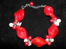 Design Six Chunky Beaded Red White and Pink Bracelet Adjustable BNWT