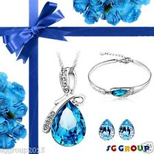 Blue Crystal Necklace Pendant set Valentine Day Gifts For Women Lady Girlfriend