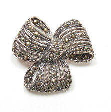 Vintage Stamped 925 Sterling Silver MARCASITE SET BOW PIN BROOCH 7.1g