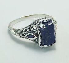 Victorian Art Deco Lapis Sapphire Ring Real Sapphires Great Detail Size 7 .925