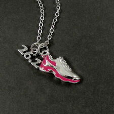 26.2 MARATHON RUNNING SHOE NECKLACE - Silver and Pink Runner CHARM PENDANT
