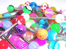 30 NEW acrylic end BRIGHT Tongue Bars PIERCING Jewellery tounge surgical steel