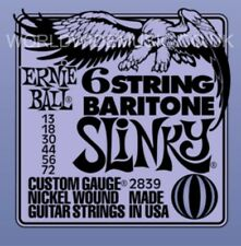 ERNIE BALL 6 stringa BARITONO SLINKY NICHEL ARROTOLATE GUITAR Stringhe.013 -.072 2839