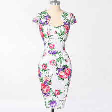 Floral Pinup Rockabilly Dress Vintage style 50S Wedding Prom Gown bodycon Sz XL