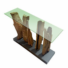 Teak Wooden Root Tree Console With Glass Natural Rustic Furniture 120x40cm