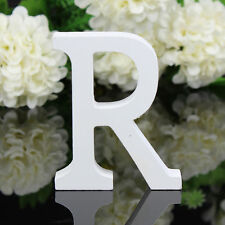 R Wood Wooden Letter White Alphabet Freestanding Art Home Wedding Party Decor 01